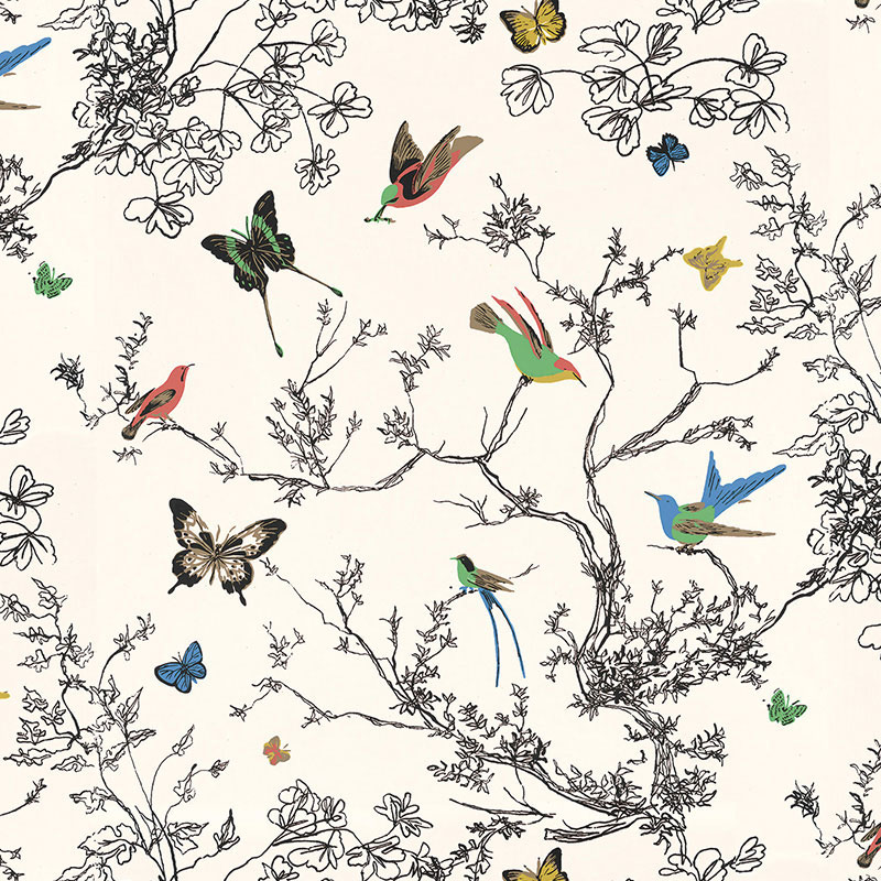 Schumacher birds and butterflies wallcovering