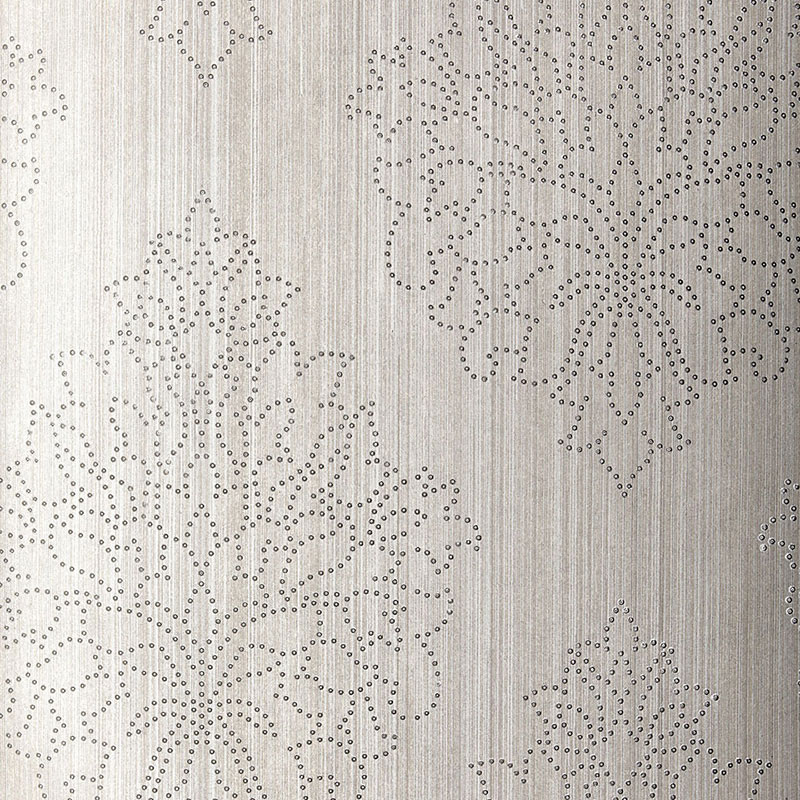 Modern beaded damask wallcovering by Schumacher