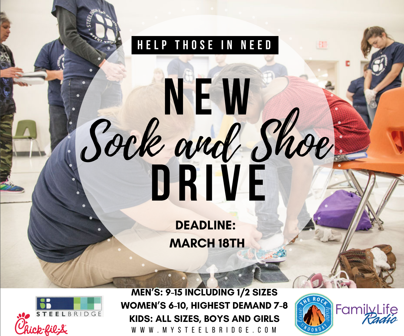Drop off new shoes and socks at any Chick Fil A location beginning March 5th.