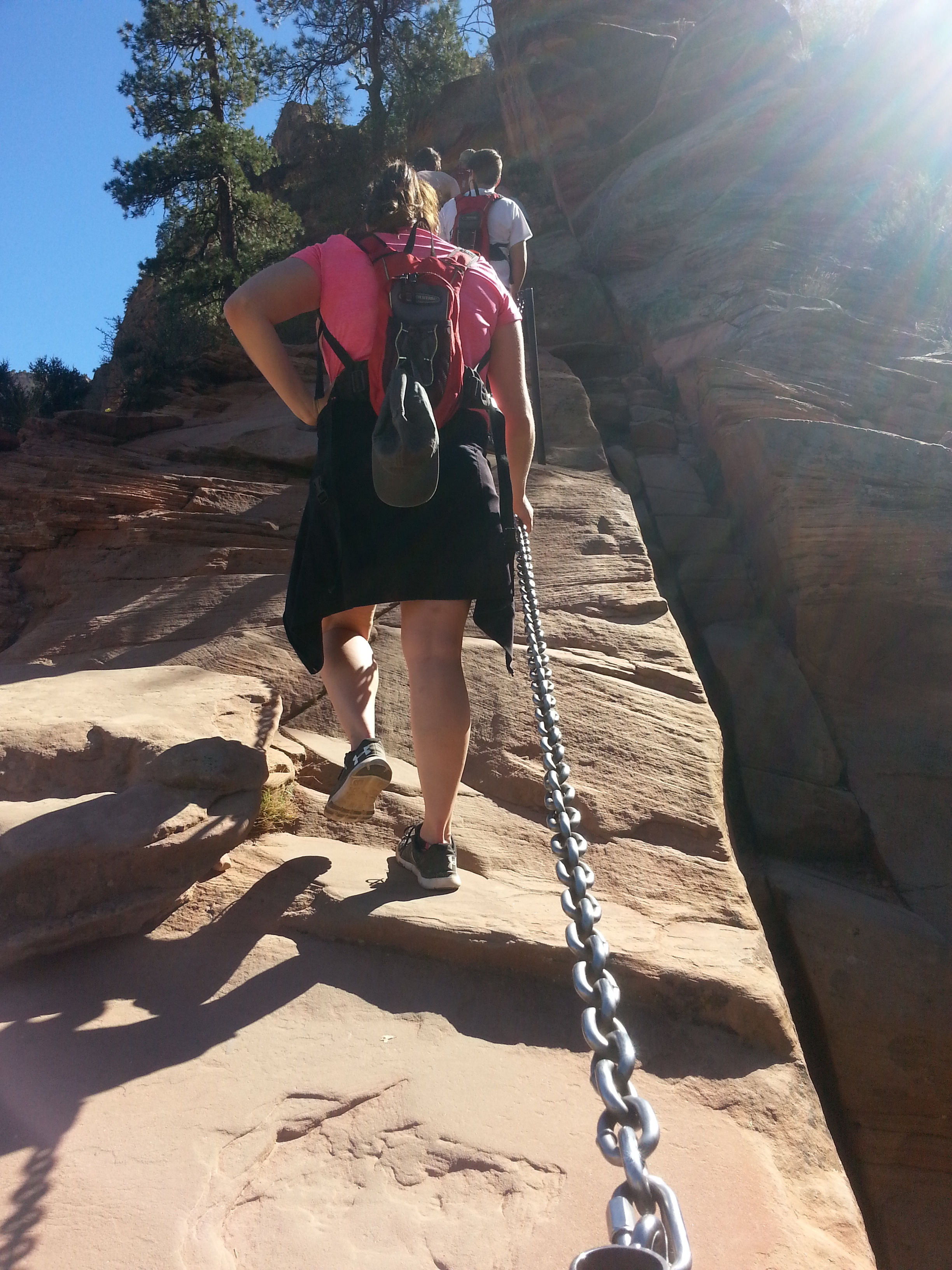 Up up you go while holding on to the chains for .6 miles each way to reach the perch of Angels Landing!
