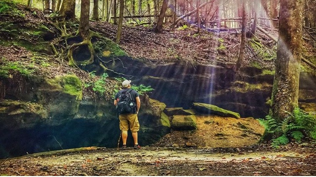 Light shining down at Conkle's Hollow Nature Preserve.
