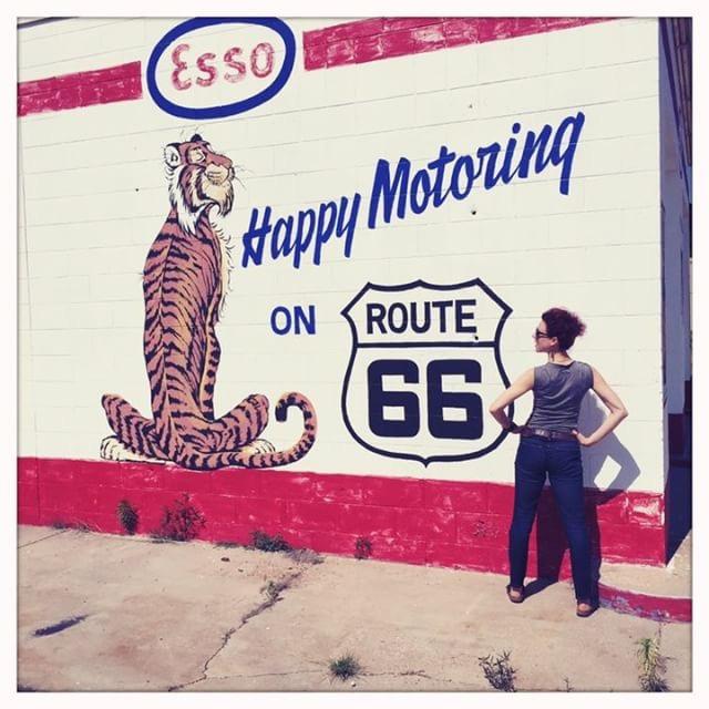 Erin S on Route 66 in Tucumcari, New Mexico