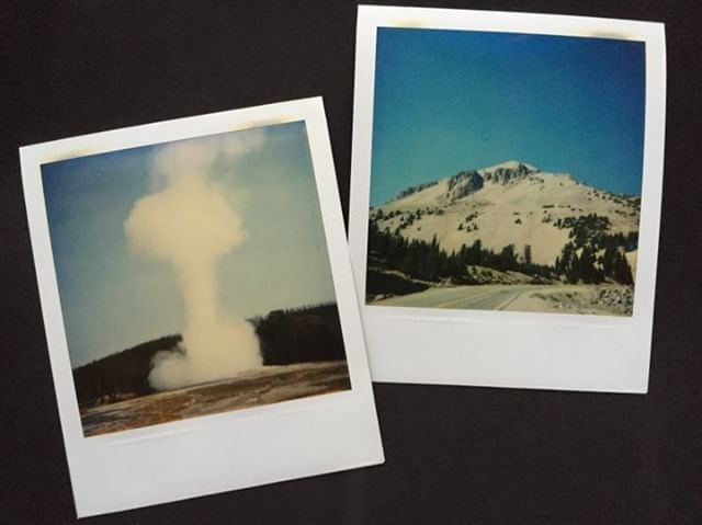 Old Faithful and Lassen Volcanic NP on polaroid from Erin S's cross country road trip in 2000!