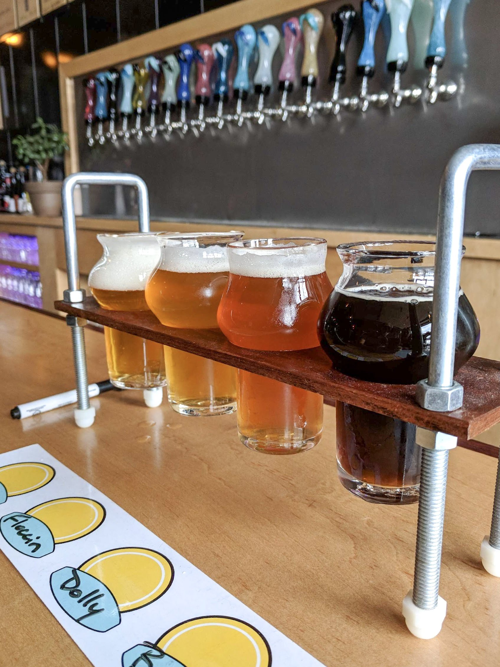 Flight of beer at Pretentious Beer Company