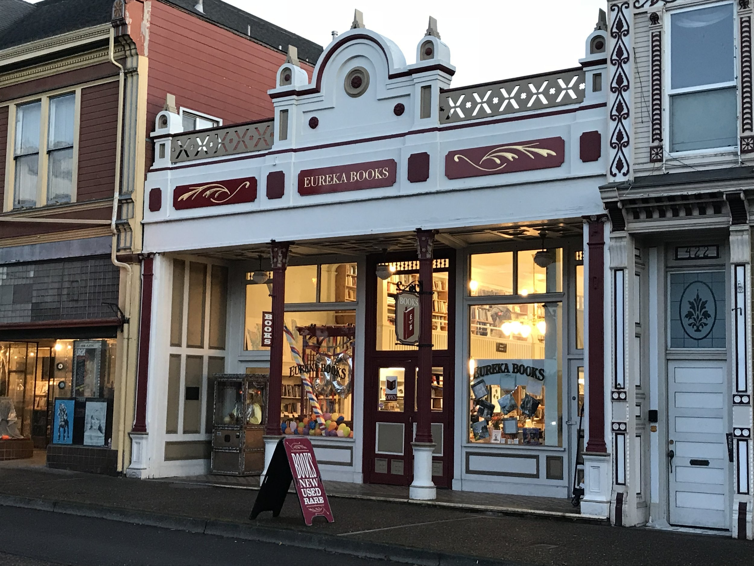 Hip independent book stores on the road like this one in Eureka California are great learning spots on the road with kiddos!