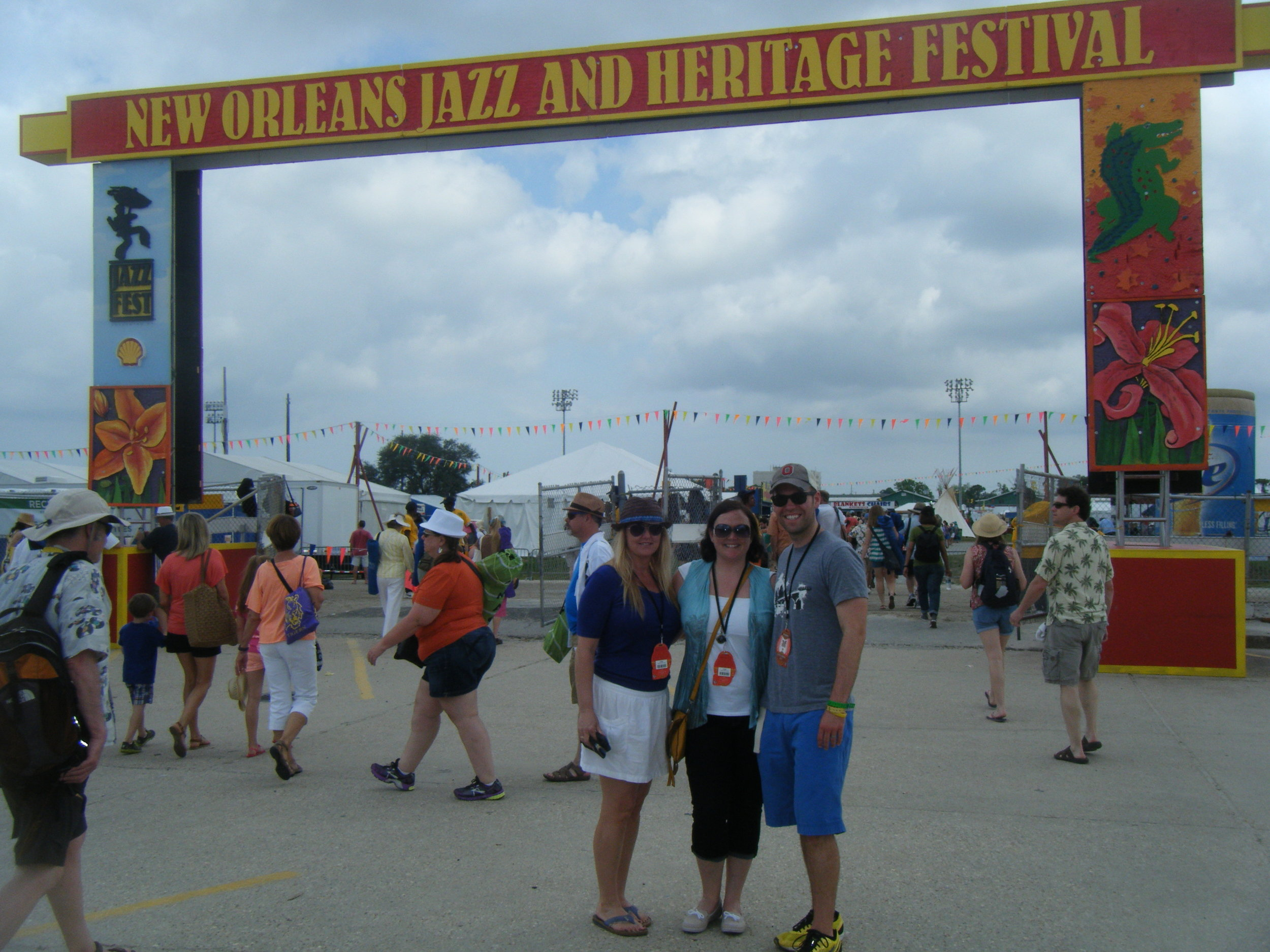 Number one on the list is New Orleans! Here's Mike R with other Hashtag 59 contributors Jill G and Cassie E at  Jazz Fest  a number of years ago. A great reason to go visit the bayou!