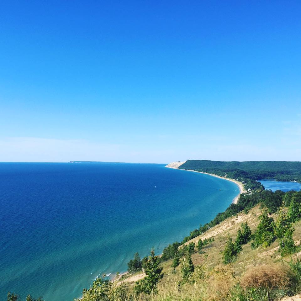 The view from a trail in Sleeping Bear Dunes