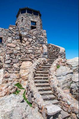 The famous Harney Peak Fire Lookout Tower in the Black Hills.