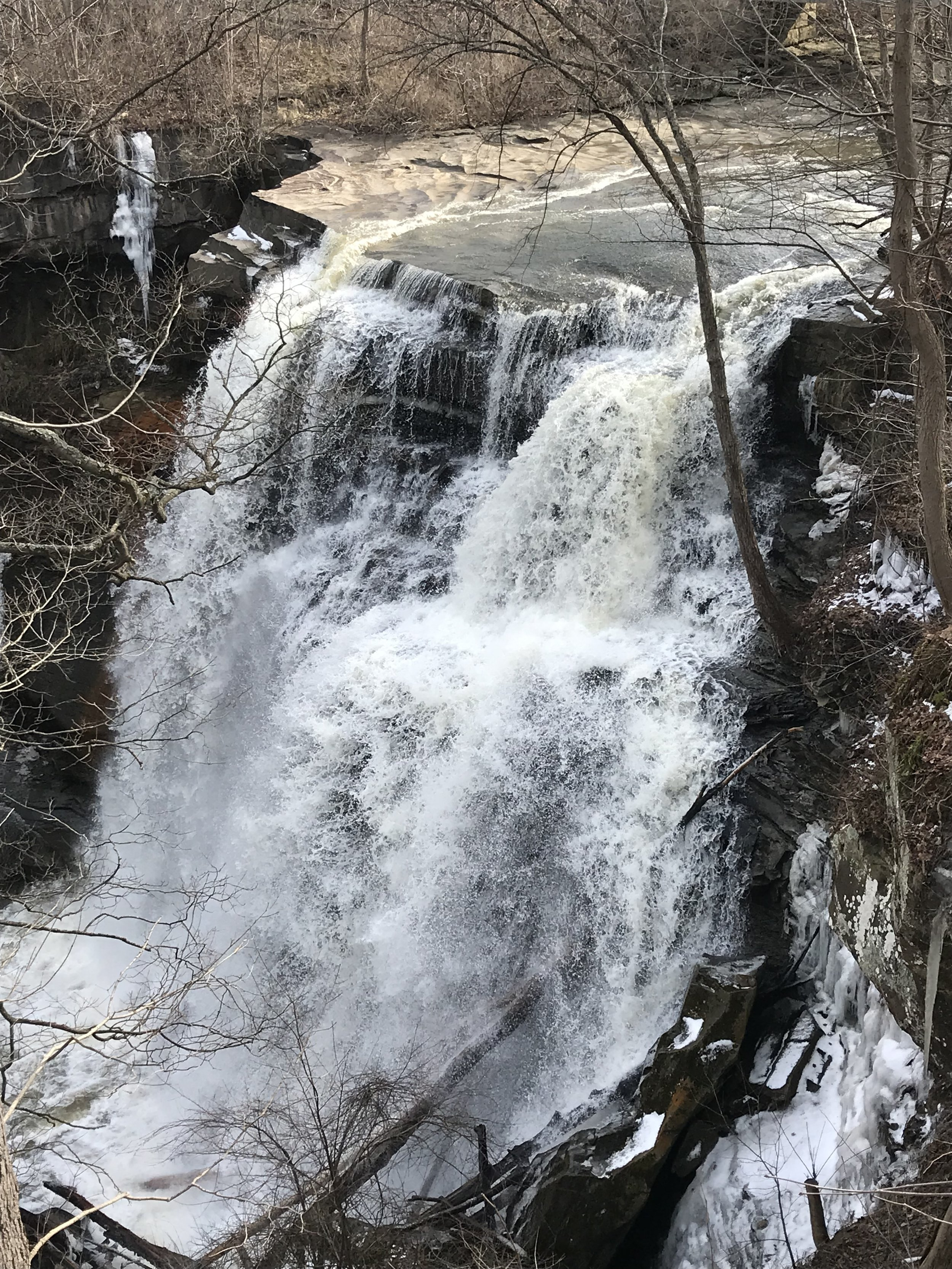 The front of Brandywine Falls on a crisp winter morning.