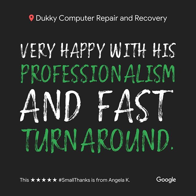 Thank you Angela K.! It is a pleasure to serve you and any of your technological needs!  Leave us a review on Google or Yelp, and let us know how to improve! We love hearing positive and constructive criticism from all of our customers. Our goal is to satisfy everyone and improve all of their technological experiences! We look forward to posting your next review 😊 #smallthanks #bigthanks #loveourcustomers #googlereviews #loyallocalcustomers #happycustomers #dukky #dukkyrepair #dukkyrepairandrecovery #computerrepair #computer #applerepair #windowsrepair #harddrive #recovery #computerhelp #screenrepair #solidstatedrives #ssd #carpinteria #carpcomputerrepair #carpinteriarepair #cheaperthanapple #goodasnew #technology #techhelp