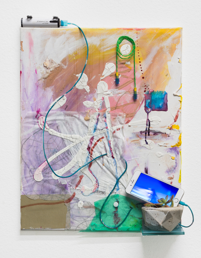 "Venice Saturation Painting: Women Must Recharge , 2016, Tile, cement, succulent plant, recharge™ battery, USB Cable, iPhone with Venice Saturation Video on loop, concealer, nail-polish, watercolor, acrylic, plastic, tracing paper on canvas, 20"" x 16"" x 4""."