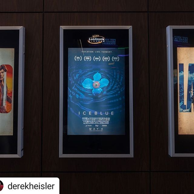 Our poster was designed by the amazing @derekheisler Ice Blue is in theatres until Thursday!! #Repost @derekheisler • • • Was awesome to see my first poster at the theatre. @icebluemovie is in theatres now. Go see it! . . . Starring @michellemorgan_ @billy_maclellan @sophiahirt @mattandsamsbrother  Directed by @sandivva . #icebluemovie