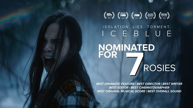 Tonight Ice Blue is up for 7 Rosies @YourAMPIA awards gala! Best Dramatic Feature Best Director @sandivva, Best Writer (Jason Long) Best Editor @kenfile Best Cinematographer @nickthomas Best Sound (Frank Laratta/Derek Waite) & Best Original Music (Alec Harrison). Ice Blue is now playing @landmarkcinemas  in New Westminster! . . . . Starring @michellemorgan_ @billymaclellan @sophiahirt @mattandsamsbrother  #icebluemovie #movies #indiefilm #nowplaying #awards