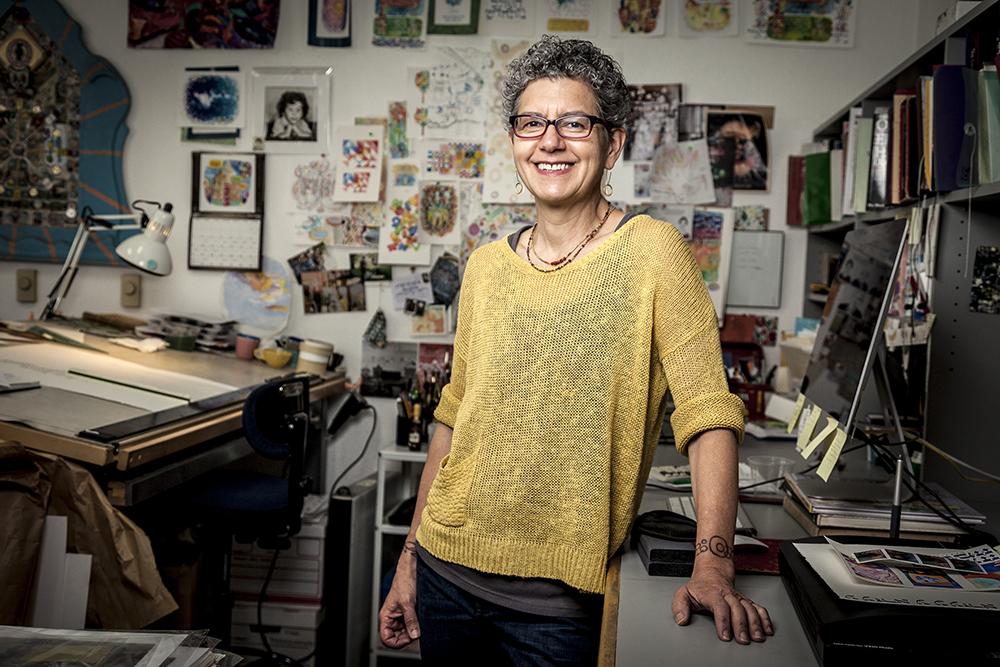 Risa Aqua in her studio