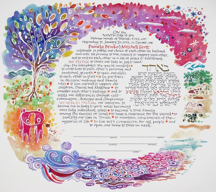 Personalized colorful, modern watercolor ketubah wedding art by Risa Aqua