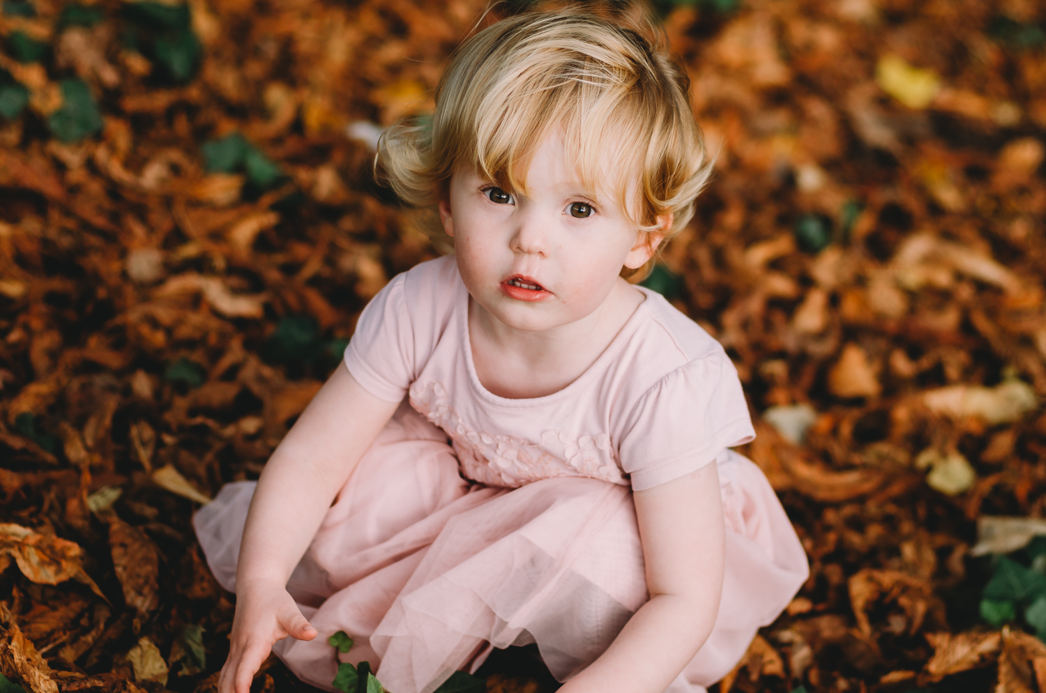 Girl in Pink dress sitting in leaves