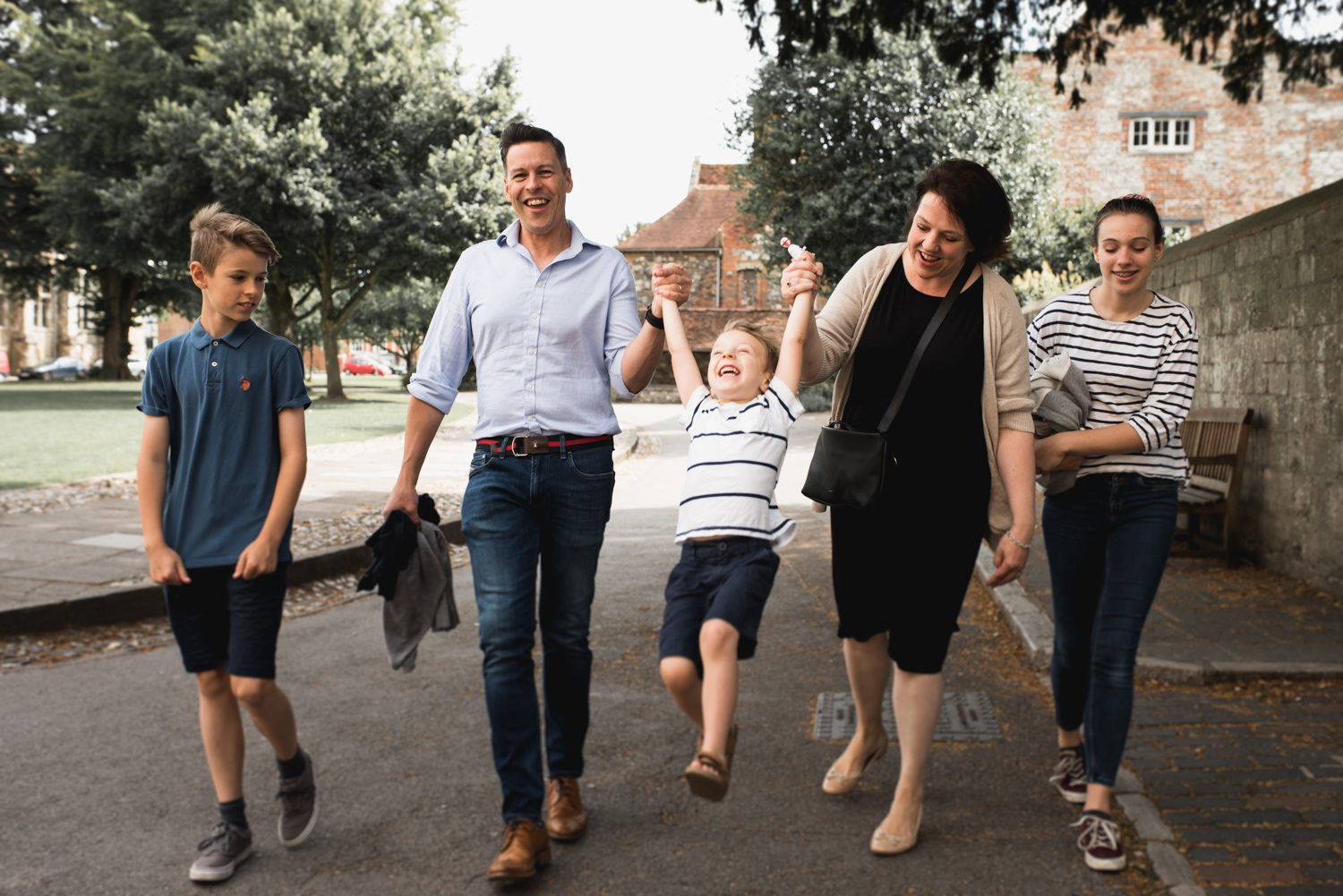 Winchester Cathedral Dome Alley Family Portrait by chidlren's photographer Evie Winter