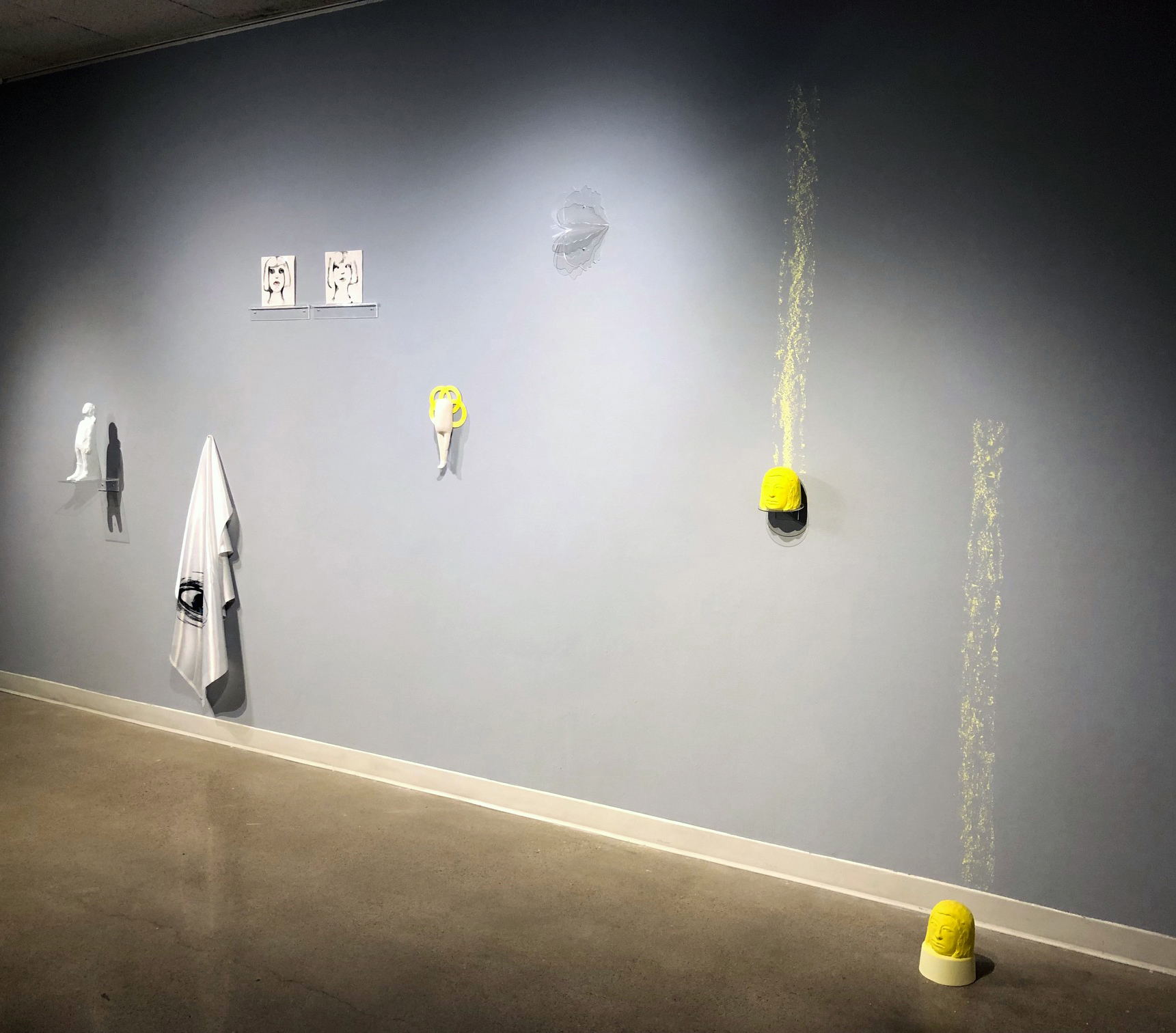 Fabricating the Real, 2019, Installation View Medium: sculptural ice, porcelain, wall drawings on satin, chiffon and laser cut acrylic figurative pieces