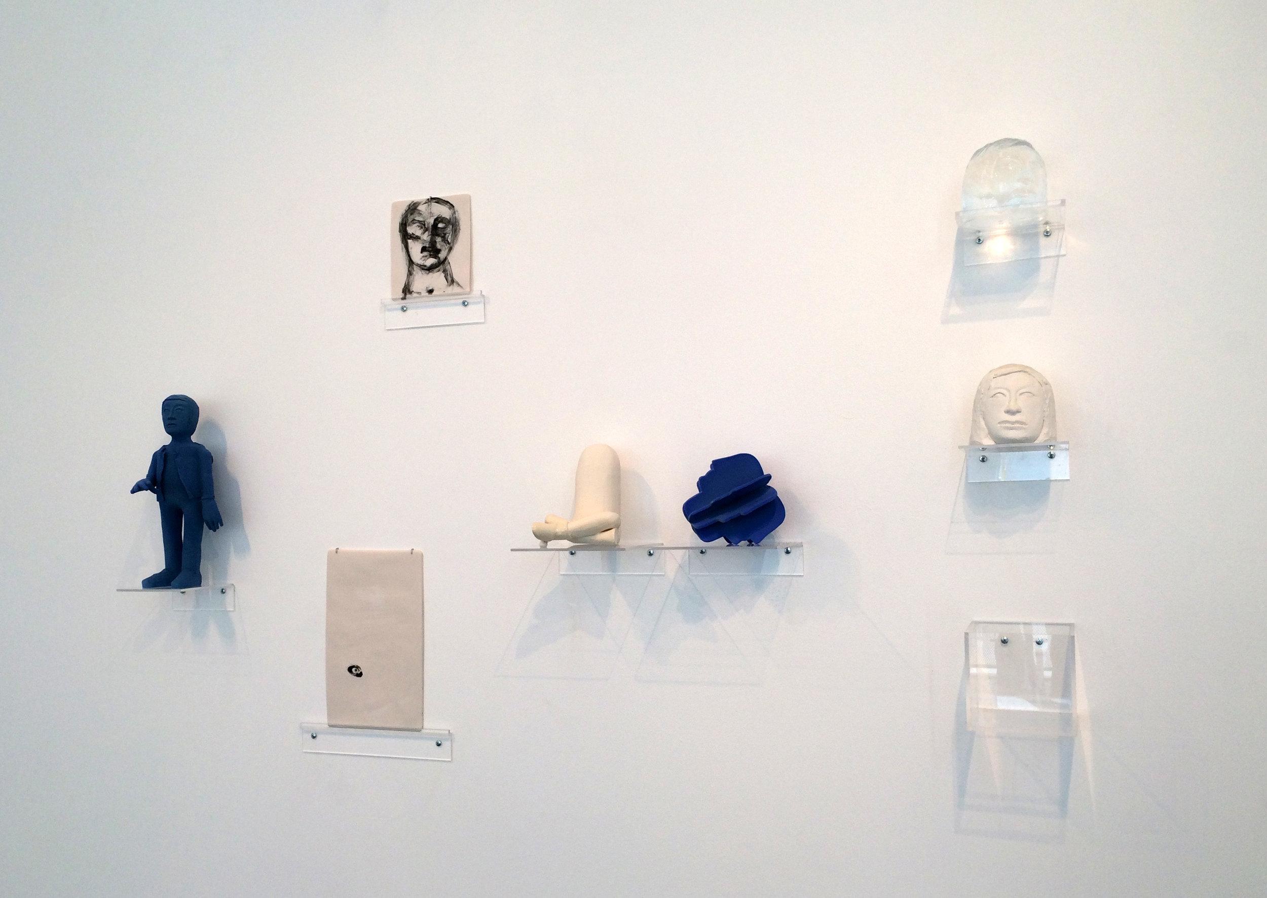 "27 Personifications and 1 Perception, Porcelain Drawings, 2016  Medium: slip cast porcelain, underglazes, underglazes pencil and custom acrylic base Dimensions: 10""x8""x1"""