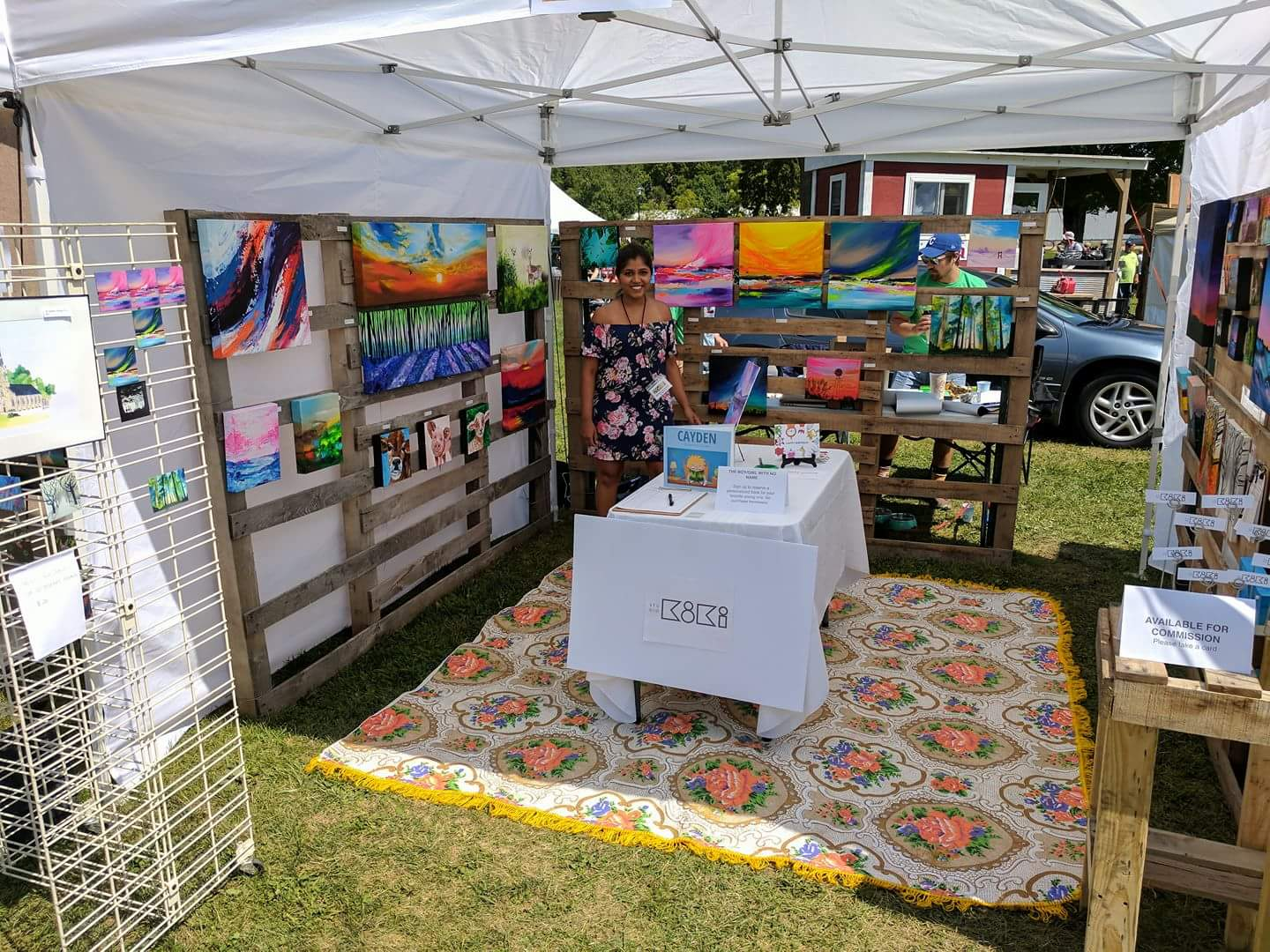Set up at first ever art festival - Art in the Park - Elkader, Iowa
