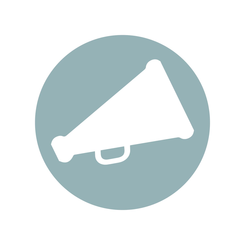 Megaphone icon representing public speaking services.