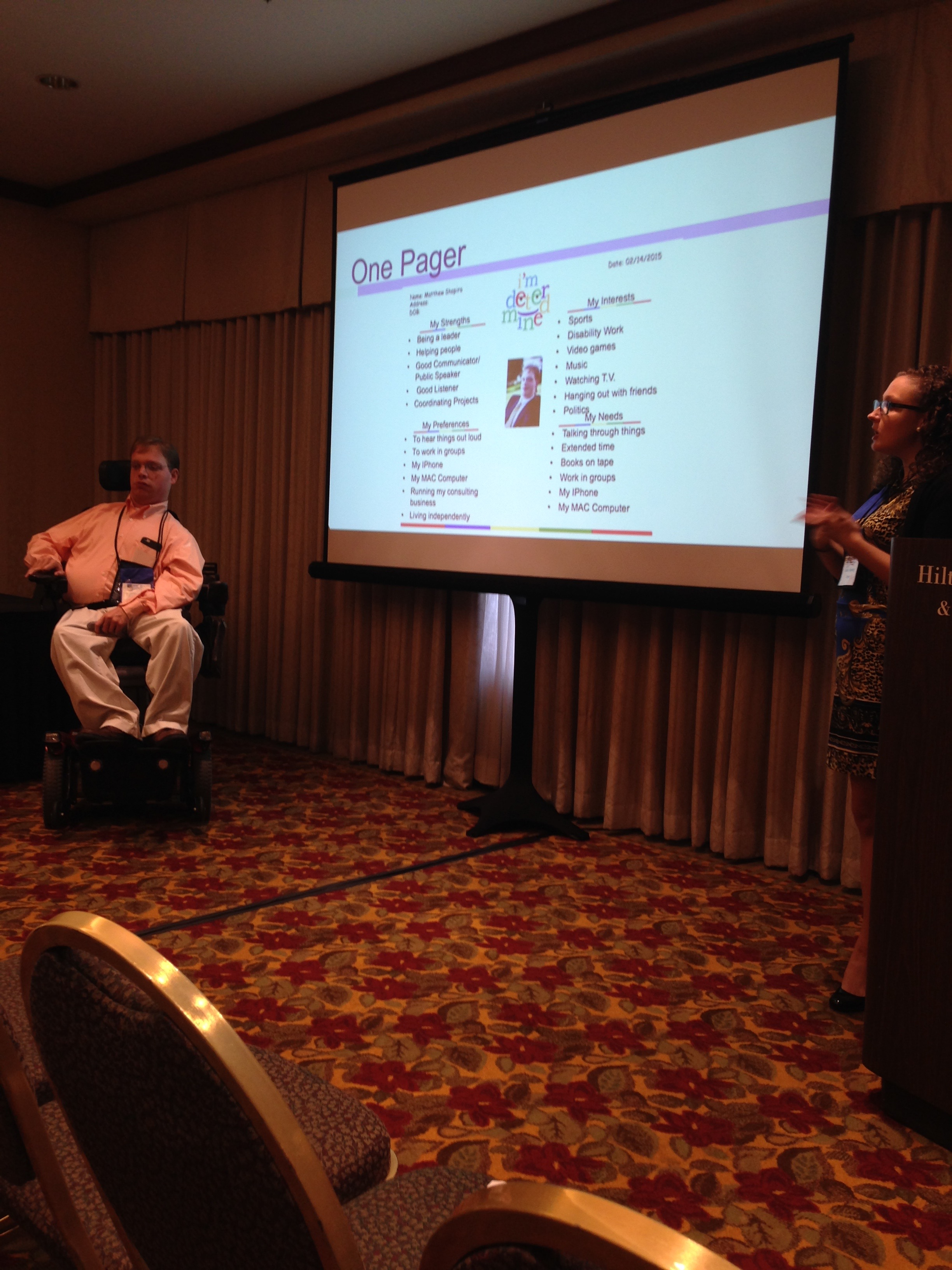 PHOTO: Annie Downing and I presented at the 2015 annual DCDT conference in Portland Oregon. Our presentation was about our journey to becoming strong self advocates.