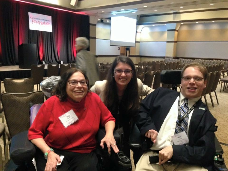 PHOTO: Matthew with disability advocate Judy Heumann and her assistant Tailor D'Ortona in Washington, DC At the 25 Anniversary celebration of the Mitsubishi Electric America Foundation.