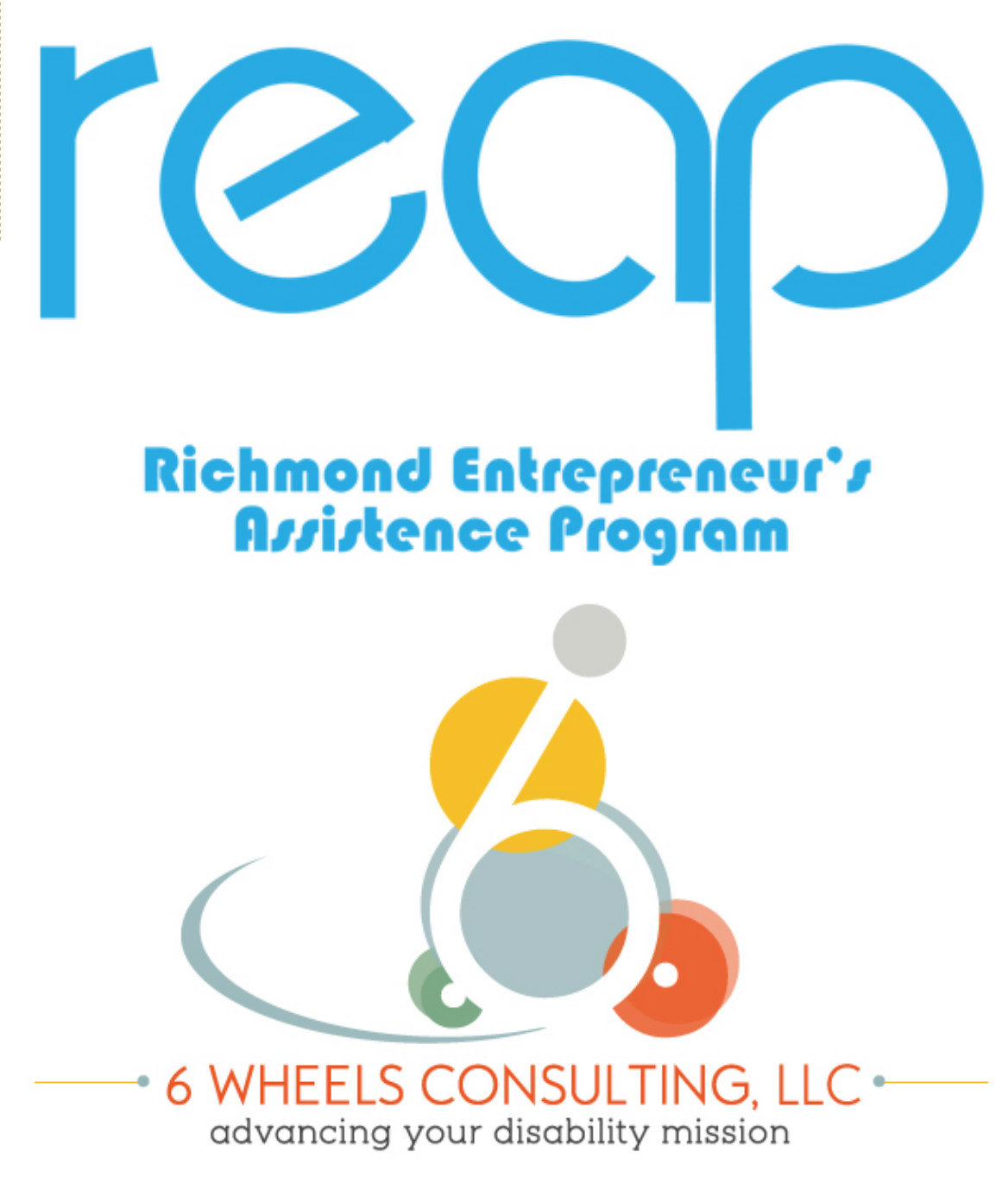 PHOTO: REAP Logo on top of the 6 Wheels Consulting, LLC Logo in a photo.