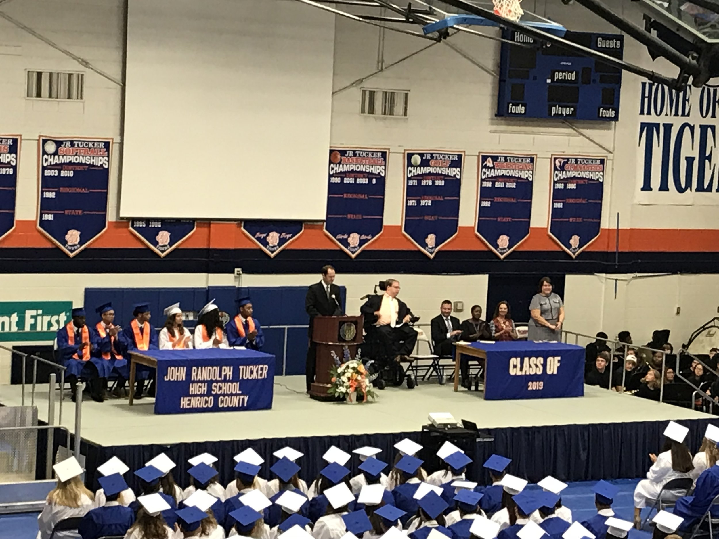PHOTO: Matthew on stage at his high school, JR Tucker, in front of 2000 people. He was the keynote speaker for the class of 2019 Convocation.