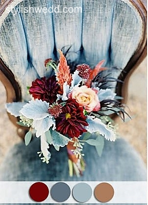 Dusty blue and burgundy   http://blog.stylishwedd.com/9-most-popular-wedding-color-schemes-from-pinterest-to-your-wedding-inspiration/