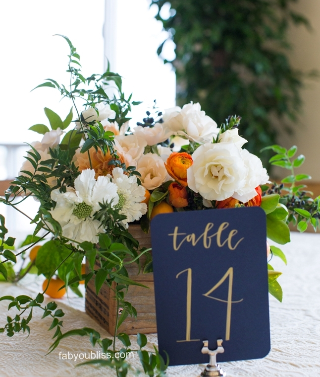 Navy and orange    http://fabyoubliss.com/2015/01/14/elegant-timeless-presidio-san-francisco-wedding/