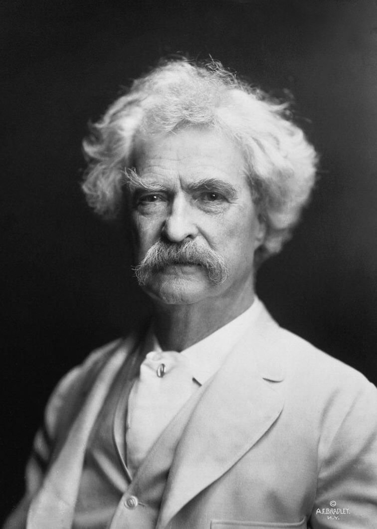 A portrait of Mark Twain, American writer, taken by A. F. Bradley in New York, 1907.
