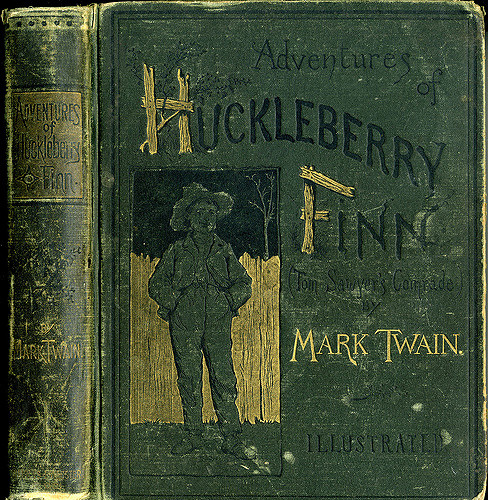A first edition copy of  The Adventures of Huckleberry Finn  (1885). Image from  William Creswell .