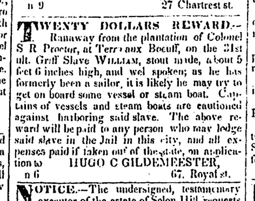 A runaway slave ad posted in a New Orleans newspaper, November 28, 1833.