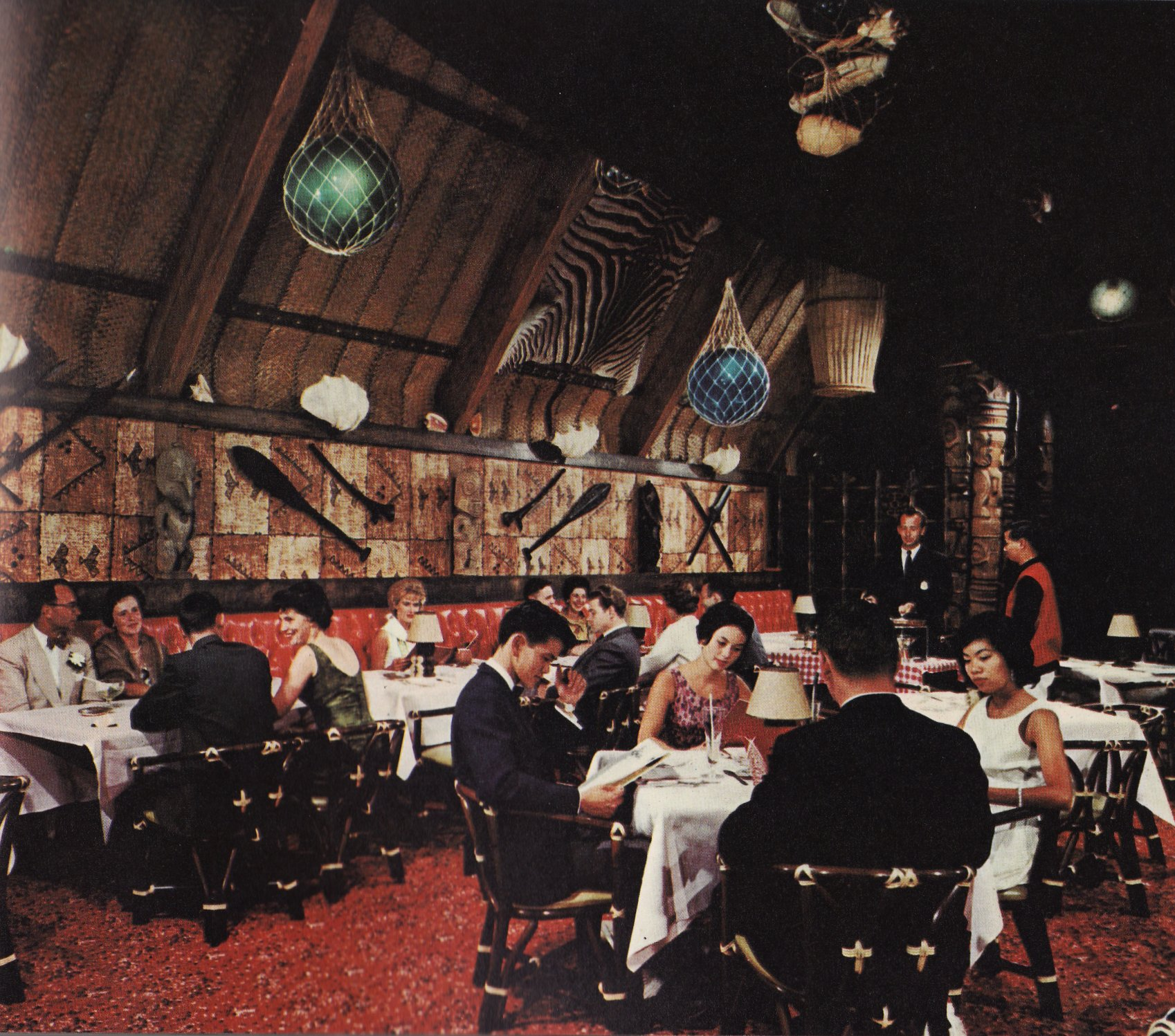 A photograph of the interior of a Trader Vic's restaurant, Vancouver (1961)