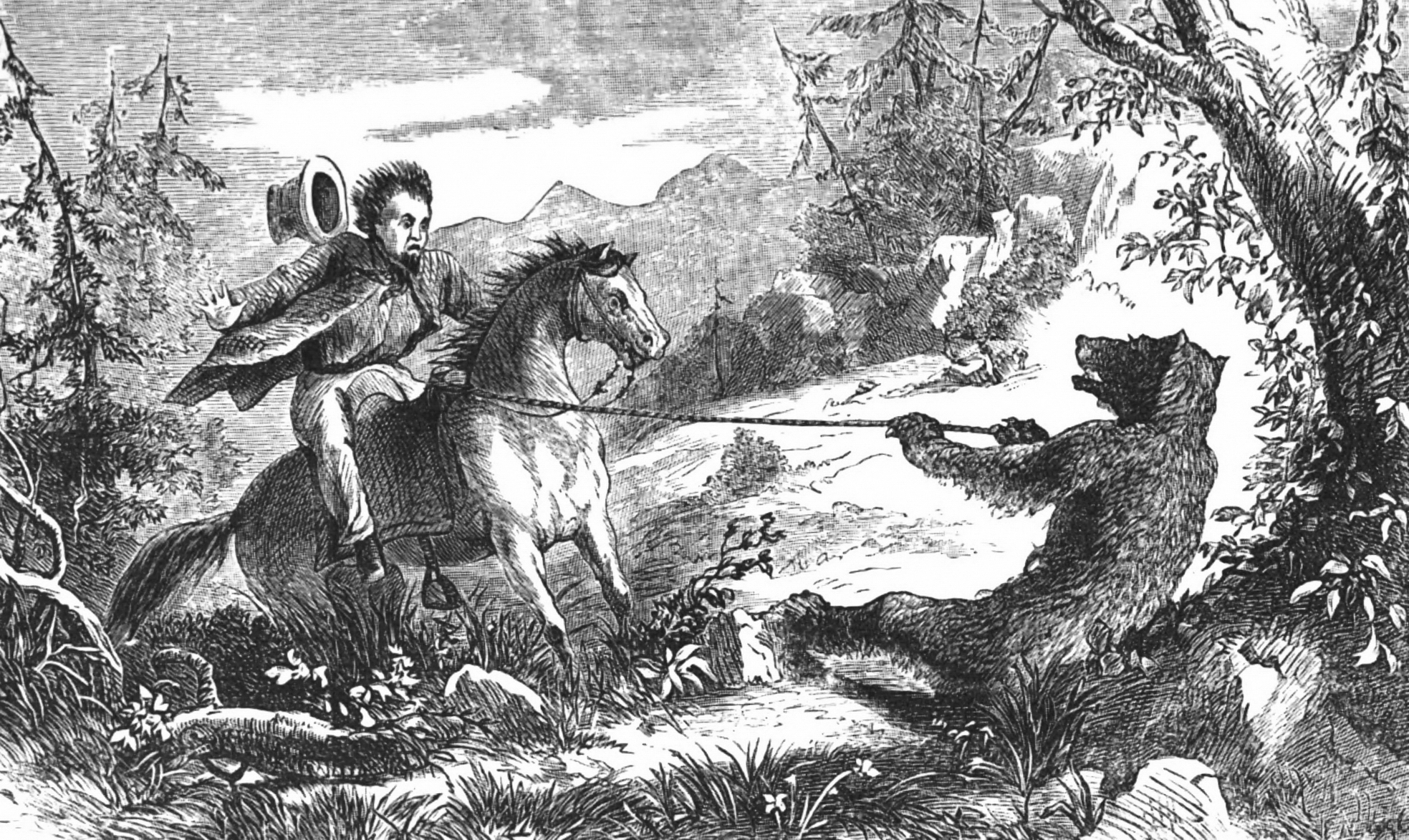 "One man told a story about a grizzly bear with enough strength to drag him and his horse. Ernest Narjot, ""The Pull on the Wrong Side"" from   A la California: Sketches of Life in the Golden State     by Albert S. Evans (San Francisco: A. L. Bancroft, 1873)."