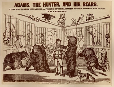 """Grizzly"" Adams posing with his menagerie. Edward Vischer, ""Adams, the Hunter, and His Bears"" from  Vischer's Pictorial of California  (San Francisco: Printed by J. Winterburn & Co., 1870)."