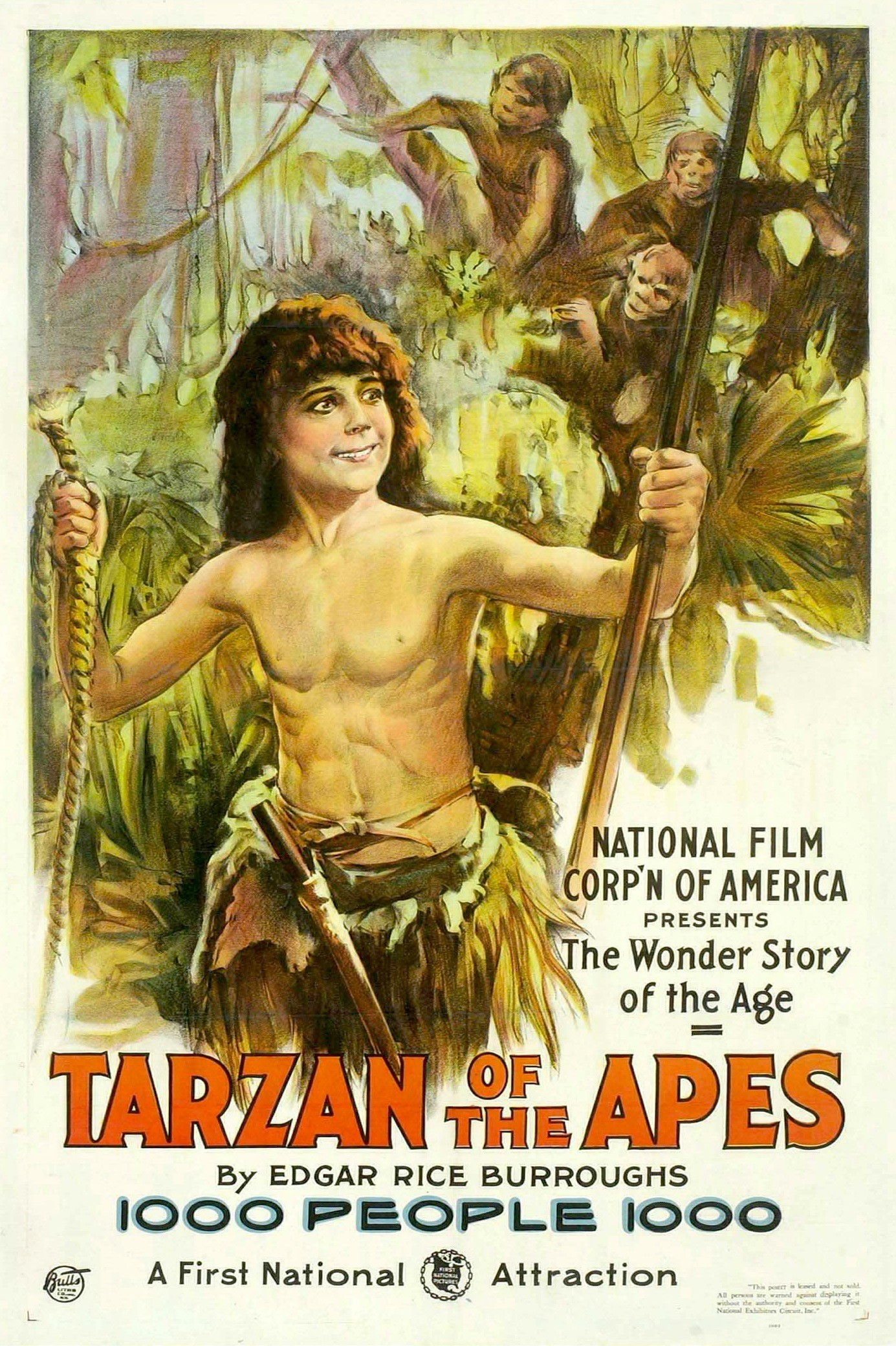 Poster from  Tarzan of the Apes . Credit: National Film Corporation, 1918.