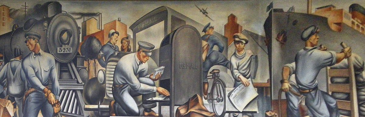 """Here's an example of an Art Deco mural commissioned as part of a New Deal program. Detail from """"Mail Transportation,"""" San Pedro Post Office, San Pedro, California, 1935."""