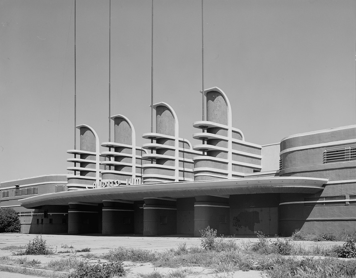 Main Entrance of the Pan Pacific Auditorium, 1600 Beverly Boulevard, Los Angeles, California.