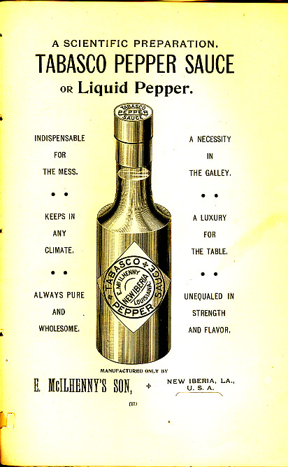 An advertisement for Tabasco, 1900. Click  HERE  for source.