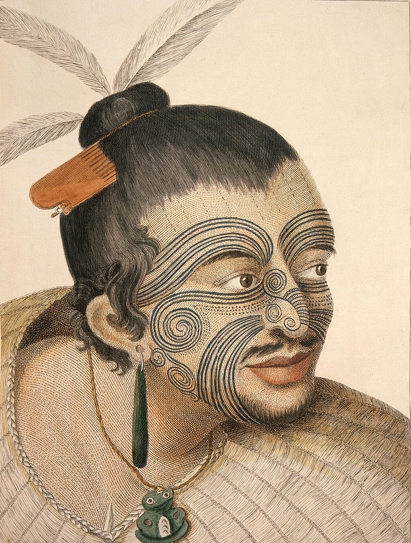 """The head of a chief of New Zealand"" by Sydney Parkinson, the artist on Captain Cook's voyage to New Zealand in 1769. Click  HERE  for the source."