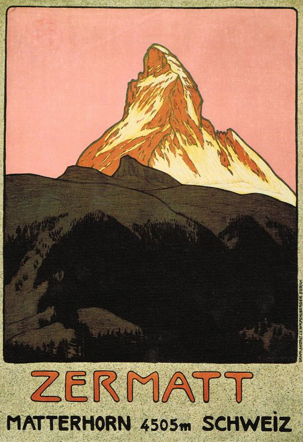 Zermatt travel poster by Emil Cardinaux, 1908. This poster is considered to be the first modern travel poster. Click  HERE  for the source.