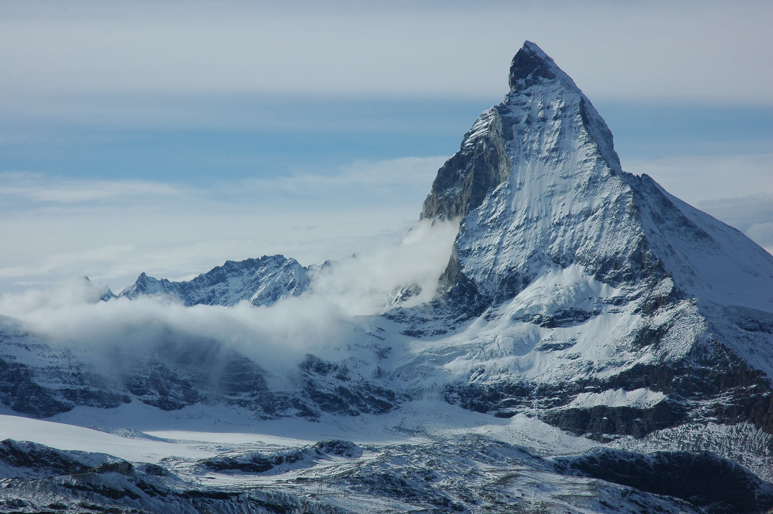 East and North side of the Matterhorn, photograph taken from the village of Zermatt.