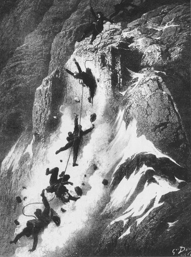 Disaster strikes just after the first ascent of the Matterhorn, drawn by Gustave Doré in 1865. Click  HERE  for the source.