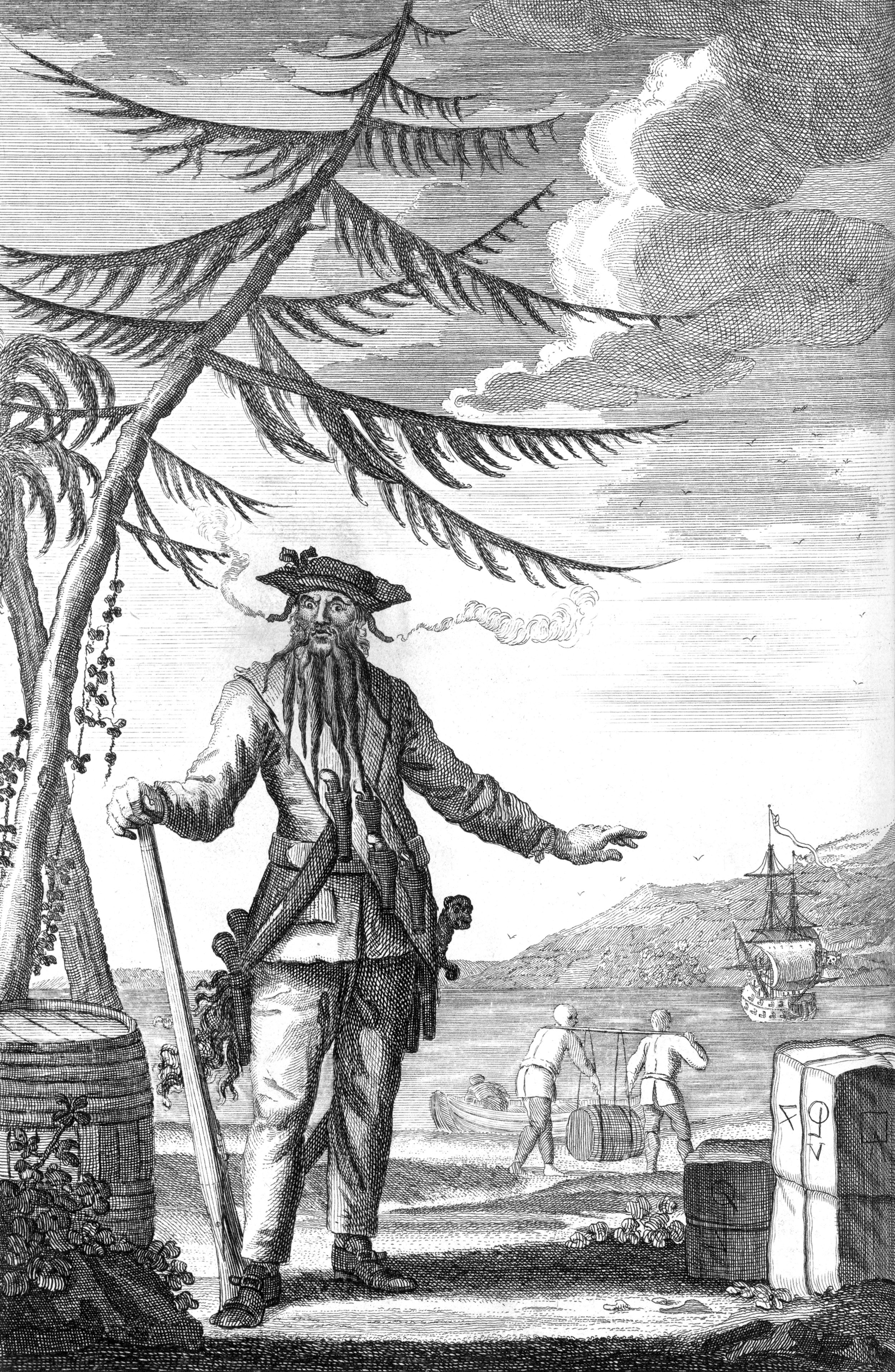 An engraving of Edward Teach, better known as Blackbeard, from 1736. Click  HERE  for image source.