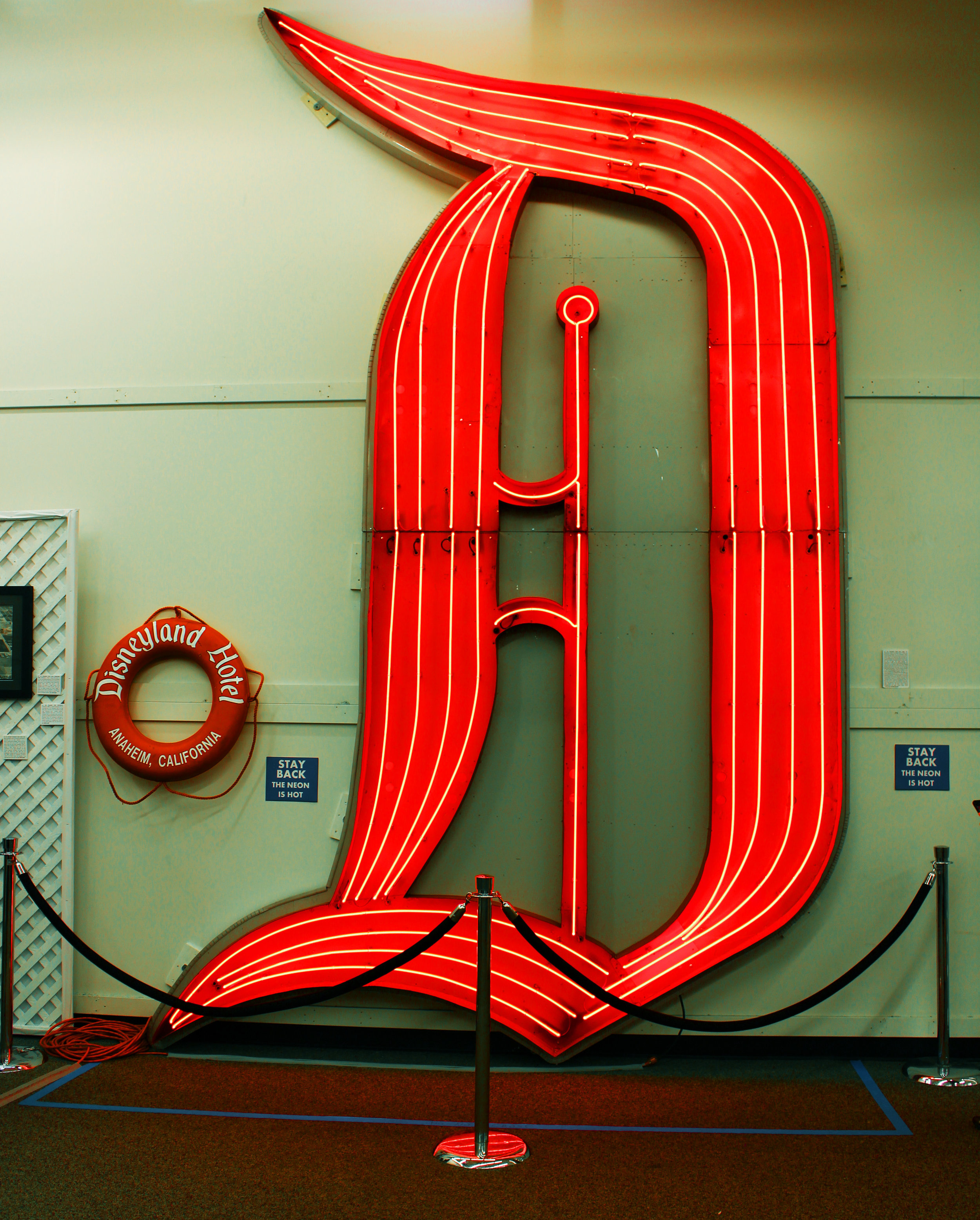 When Richard Kraft's family traveled to Disneyland, they couldn't afford to stay at the Disneyland Hotel. As an adult, Kraft ended up owning this neon D, displayed at the top of the Disneyland Hotel from 1963 to 1999. David Copperfield purchased the D for $75,000.