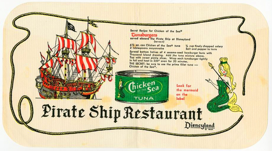 This placemat from 1959 features Disneyland's Pirate Ship Restaurant, which was no longer in operation by 1982. This artifact sold for $900.