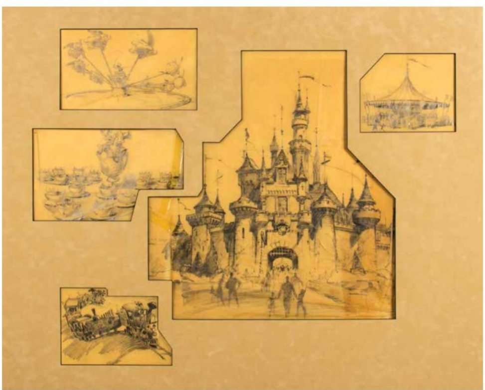Imagineer Bruce Bushman created this collection of Disneyland concept drawings in 1955 for a two-page spread in the Los Angeles Examiner. This piece sold for $10,000.