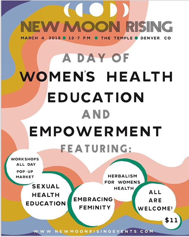 ITS OFFICIAL! NEW MOON RISING DENVER - MARCH 4th from 12pm - 7pm @thetempledenver // We have an amazing lineup of speakers focused on female and sex health and workshops going all day long (check out event schedule: link in bio) Pop up female owned local shops // a pop up red tent by @moonandwomb // Tarot! Reiki! Herbalism! Apothecary Products! YAS! Everyone Welcome! Come learn, play, embrace, build community, soak up the sisterly love and get your feminism on. Can't wait to see you all there!!! ❤️💫🌈💐👯‍♀️